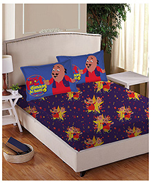 Motu Patlu Anthom Trendz Printed Single Bed Sheet With Pillow Cover Set - Purple MTP-01-131-D
