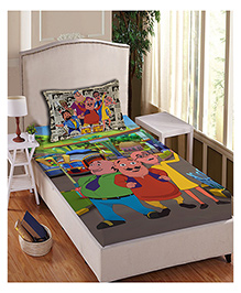 Motu Patlu Anthom Trendz Printed Single Bed Sheet With Pillow Cover Set - Multi Color