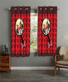 Disney Athom Trendz Window Curtain Minnie Mouse Print - Red
