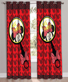 Disney Athom Trendz Door Curtain Minnie Mouse Print - Red