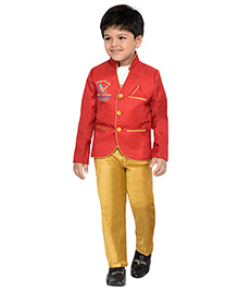 AJ Dezines Full Sleeves T-Shirt Pant And Blazer Set - White Red And Beige