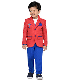 AJ Dezines Full Sleeves T-Shirt Pant And Blazer Set With Brooch  - White Red And Blue