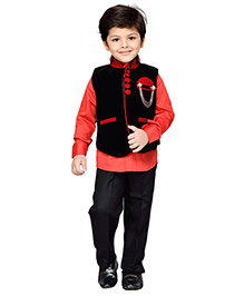 AJ Dezines Full Sleeves Shirt Pant And Waistcoat Set With Brooch - Red And Black