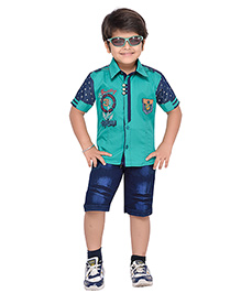 AJ Dezines Half Sleeves Shirt And Shorts Set Adventure Embroidered Logo - Green And Blue