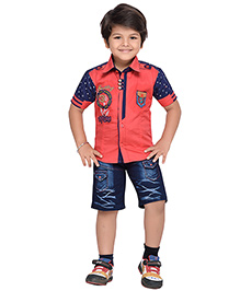 AJ Dezines Half Sleeves Shirt And Shorts Set Adventure Embroidered Logo - Red And Blue
