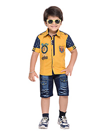 AJ Dezines Half Sleeves Shirt And Shorts Set Adventure Embroidered Logo - Yellow And Blue