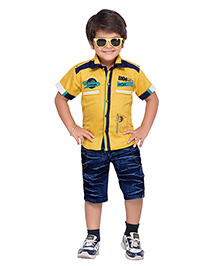 AJ Dezines Collar Neck Shirt And Shorts - Yellow & Blue