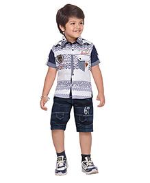 AJ Dezines Collar Neck Shirt And Shorts Print & Embroidery - White & Blue