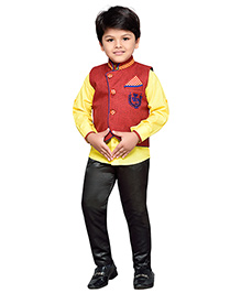 AJ Dezines Shirt Waistcoat And Pant Set - Red Yellow And Black