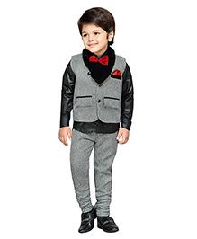 AJ Dezines Full Sleeves Shirt Pant And Waistcoat - Grey And Black