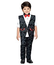 AJ Dezines Shirt Pant And Waistcoat Set - White Black