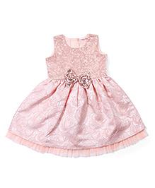 Babuhug Sleeveless Party Wear Frock With Embellishments - Peach