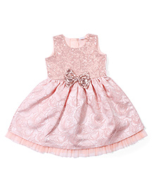 Babuhug Sleeveless Party Wear Frock With Embellishments - Peach