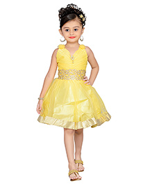 Adiva Sleeveless Party Dress Ruched Detail - Yellow