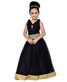 Adiva Spaghetti Strap Party Gown - Black