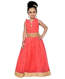 Adiva Spaghetti Strap Party Gown - Peach
