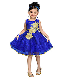 Adiva Sleeveless Party Frock Floral Design - Blue