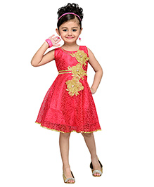 Adiva Sleeveless Party Frock Floral Design - Peach