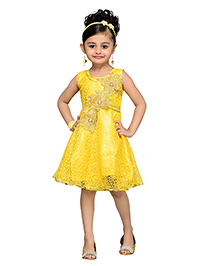 Adiva Sleeveless Party Frock Floral Design - Yellow