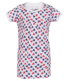 Earth Conscious Half Sleeves Organic Cotton Heart Print Frock - White