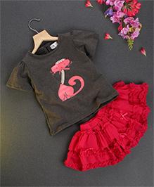 Soul Fairy Ruffle Skirt With Cat Print Tee - Grey & Fuchsia