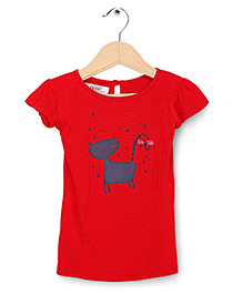 Soul Fairy Cat  Print  Tee - Red