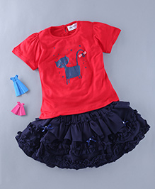 Soul Fairy Ruffle Skirt With Cat Print Tee - Red & Navy Blue