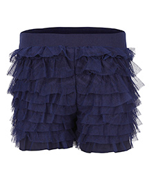 Soul Fairy Net Ruffle Divided Skirt - Navy Blue