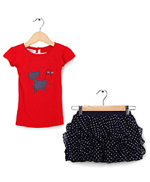 Soul Fairy Polka Ruffle Skirt With Cat Print Tee - Red