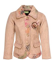 Cutecumber Floral Printed Coat -  Pink & Brown