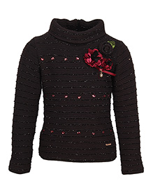 Cutecumber Full Sleeves Sweater Floral Embellishment - Black