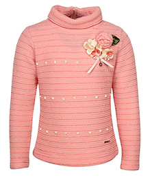 Cutecumber Full Sleeves Sweater Floral Embellishment - Peach