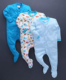 Kidi Wav Quirky Animals Footie Set of 3 - Blue
