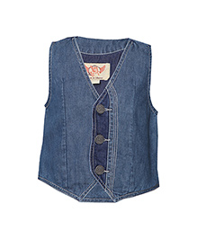 Tales & Stories Sleeveless Denim Jacket - Dark Blue