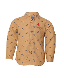 Tales & Stories Full Sleeves Shirt Animal Printed - Khaki