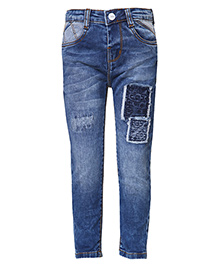 Tales & Stories Full Length Denim Jeans Patch Detailing - Blue