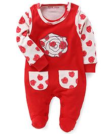 Wonderchild Full Heart Print Romper - Red