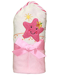 Kiwi Hodded Baby Towels Froggy Embroidery - Pink