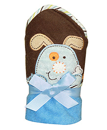 Kiwi Hodded Baby Towels Puppy Embroidery - Blue