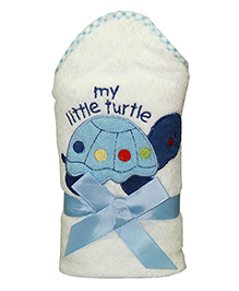 Kiwi Hodded Baby Towels Turtle Embroidery - White