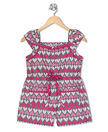 Budding Bees Printed Jumpsuit - Red & White