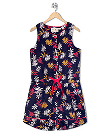 Budding Bees Printed Jumpsuit - Blue
