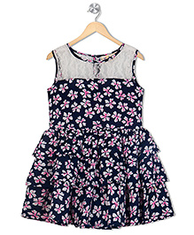 Budding Bees Floral Printed Dress - Blue