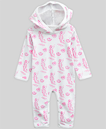 A.T.U.N Hooded Jumpsuit Seahorse - White & Pink