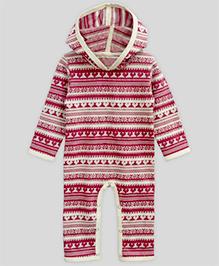 A.T.U.N Hooded Jumpsuit Snowflake Jaquard - Cherry Red