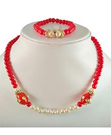 Tiny Closet Kundan Bead Necklace & Bracelet - Red