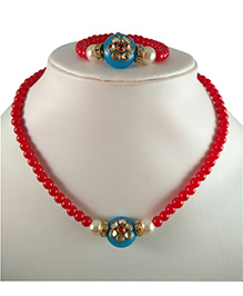 Tiny Closet Kundan Bead Necklace & Bracelet Set - Blue & Red