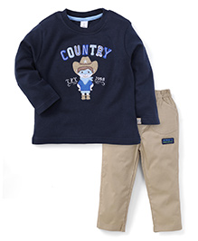 ToffyHouse Full Sleeves T-Shirt And Pant Country Print - Navy And Beige