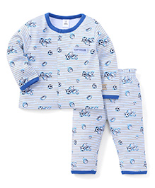 ToffyHouse Full Sleeves Night Suit Football Print - Blue