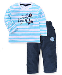 ToffyHouse Full Sleeves Stripe T-Shirt And Pants Anchor Embroidery - Blue